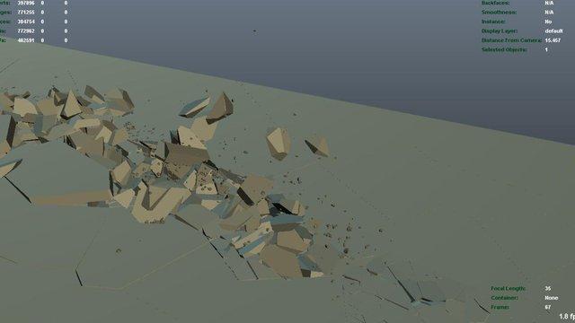 Ground shattering in Maya v2.