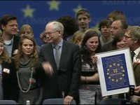 President Van Rompuy with Dutch students