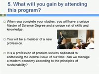 New Master's in Sustainability ManagementWhat You Will Gain
